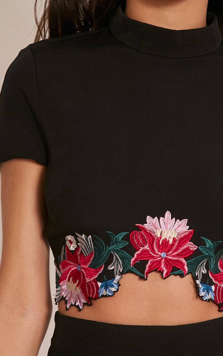 Charis Black Floral Embroidered Crop Top 6