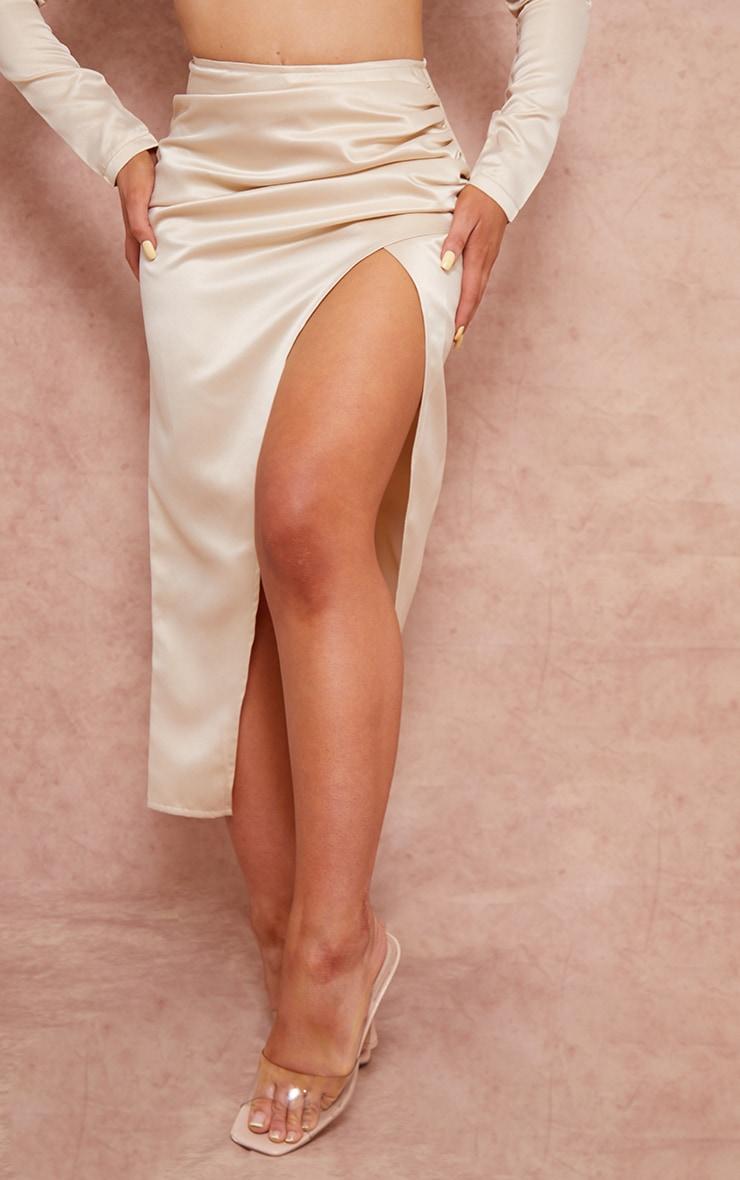 Cream Woven Structured Satin Ruched Split Side Leg Midi Skirt 2