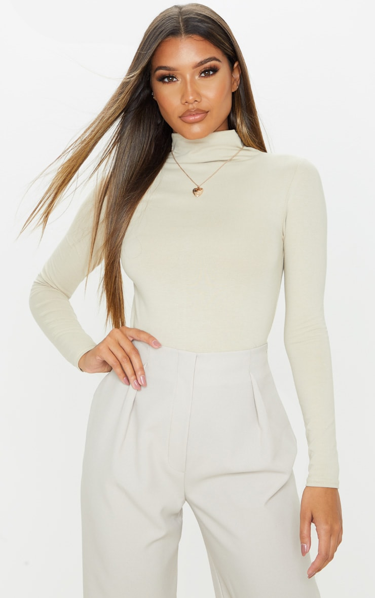 Sand Cotton Funnel Neck Long Sleeve Top 1
