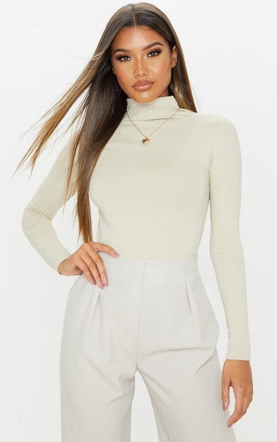 Sand Cotton Funnel Neck Long Sleeve Top