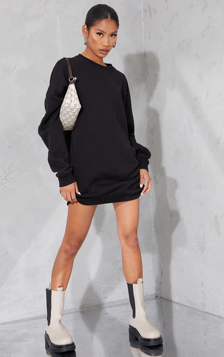 PRETTYLITTLETHING Black Contrast Graphic Oversized Sweat Sweater Dress 3