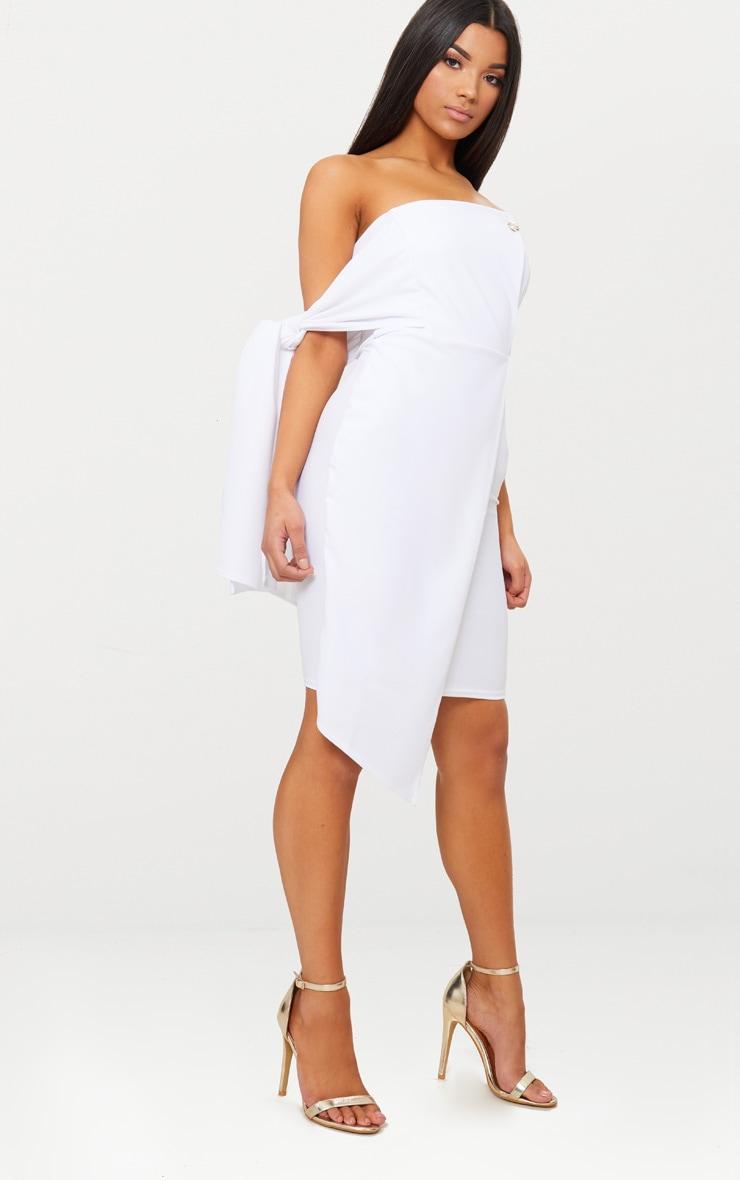 White Tie Detail Wrap Front Bandeau Midi Dress 4