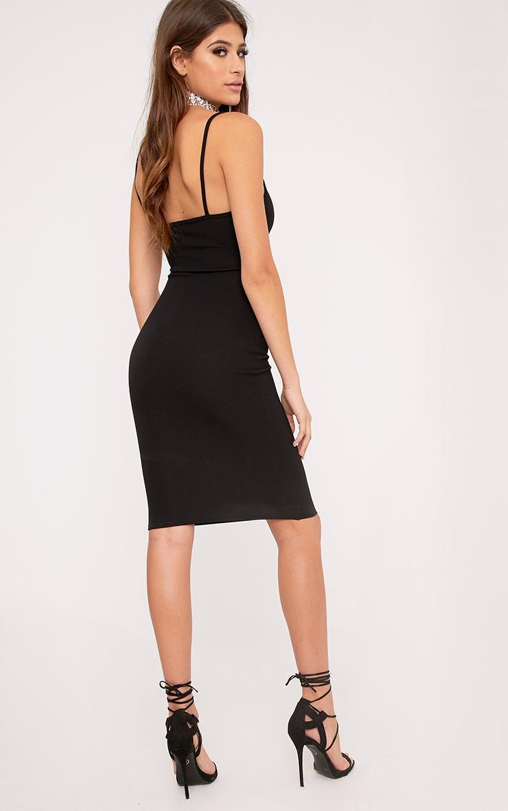 Lorah Black Square Neck Midi Dress 2