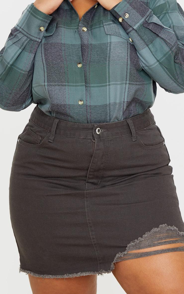 Plus Charcoal One Sided Distressed Hem Denim Skirt 5