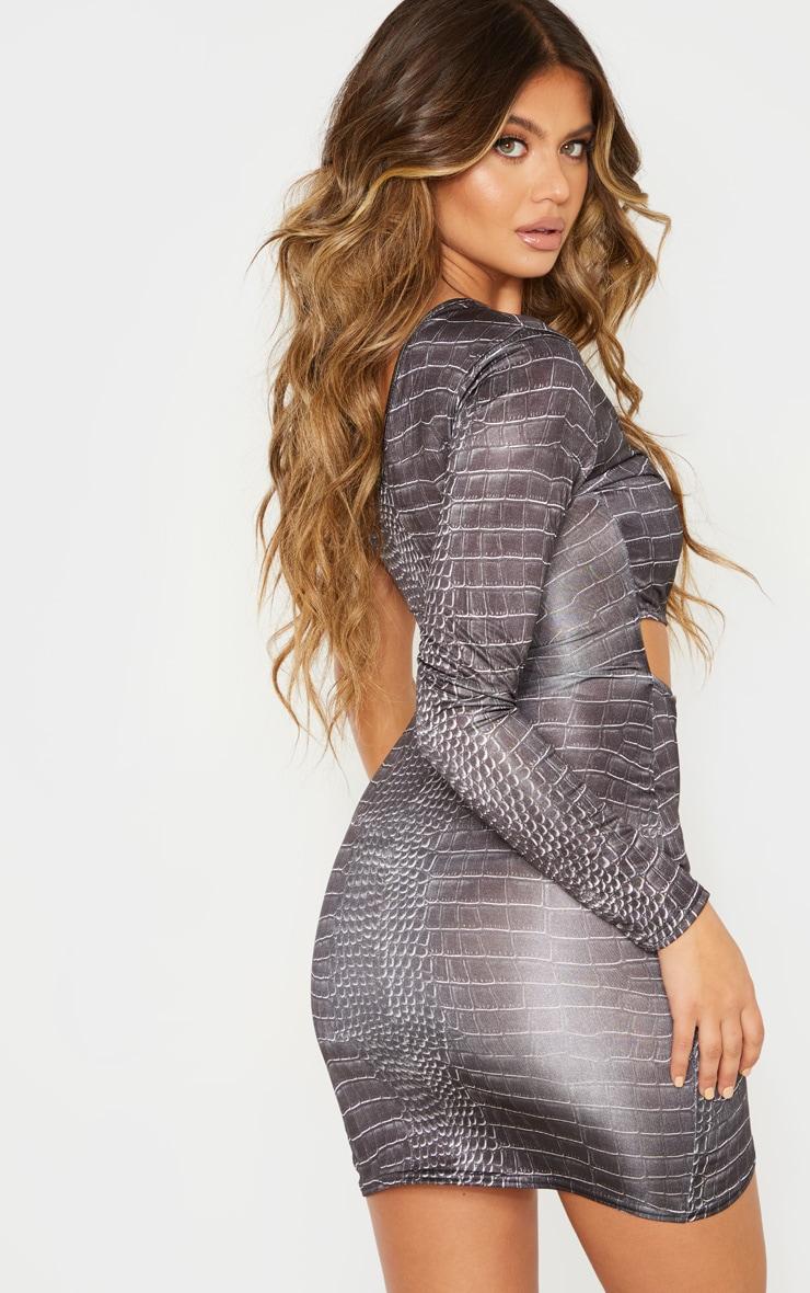Black Croc Print One Shoulder Cut Out Bodycon Dress 2