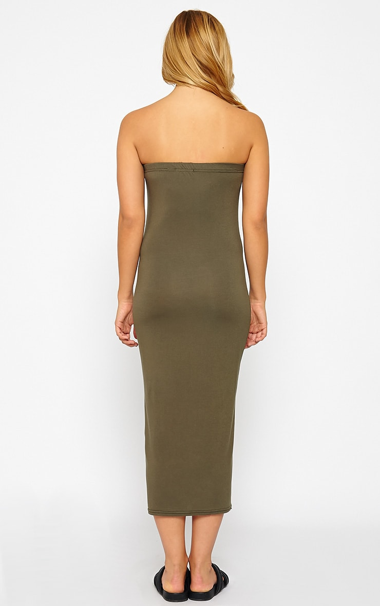 Basic Khaki Jersey Bandeau Midi Dress 2
