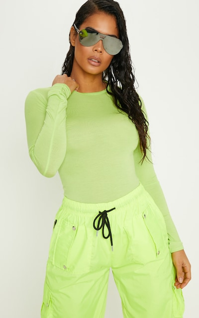 472f8d7fef1f Basic Neon Lime Long Sleeve Fitted T Shirt