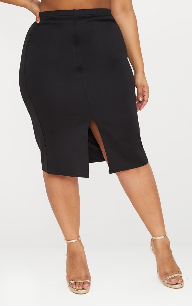 Plus Black Side Split Midi Skirt 2