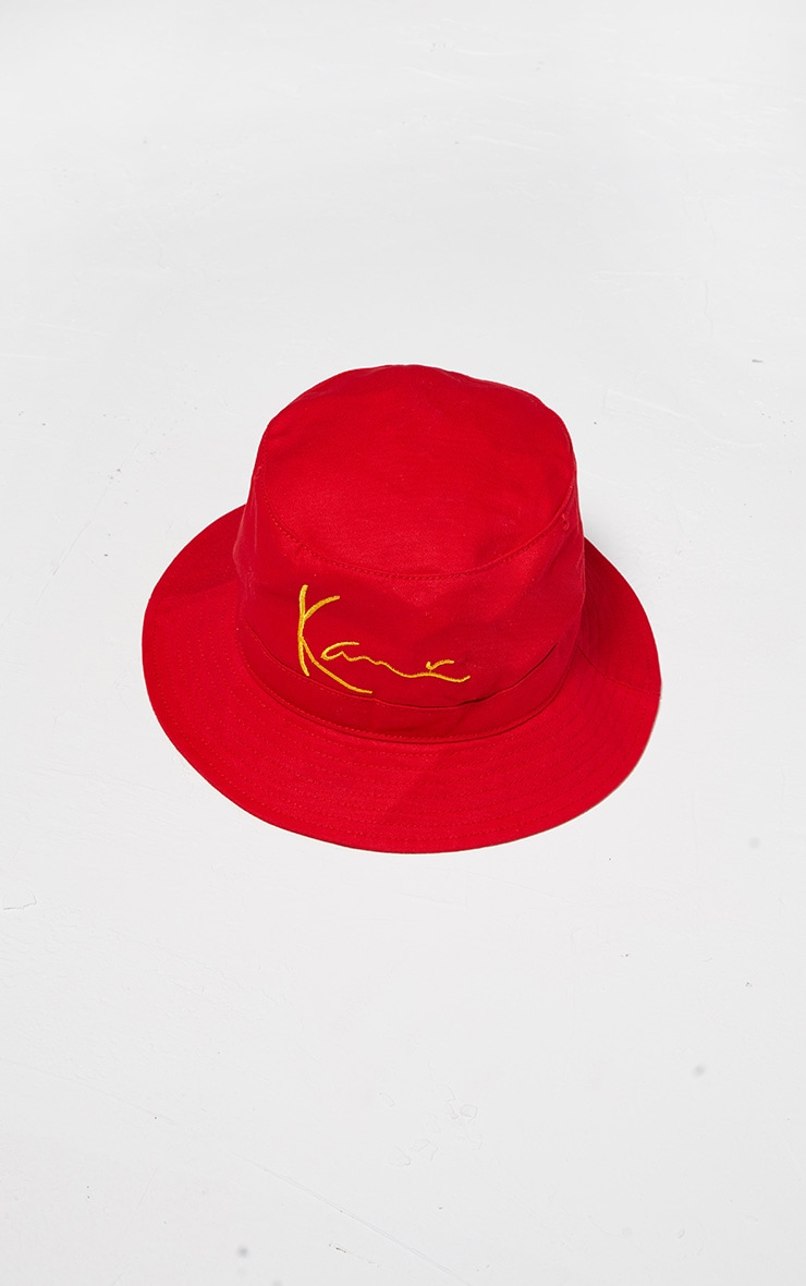 KARL KANI Red Embroidered Bucket Hat 3