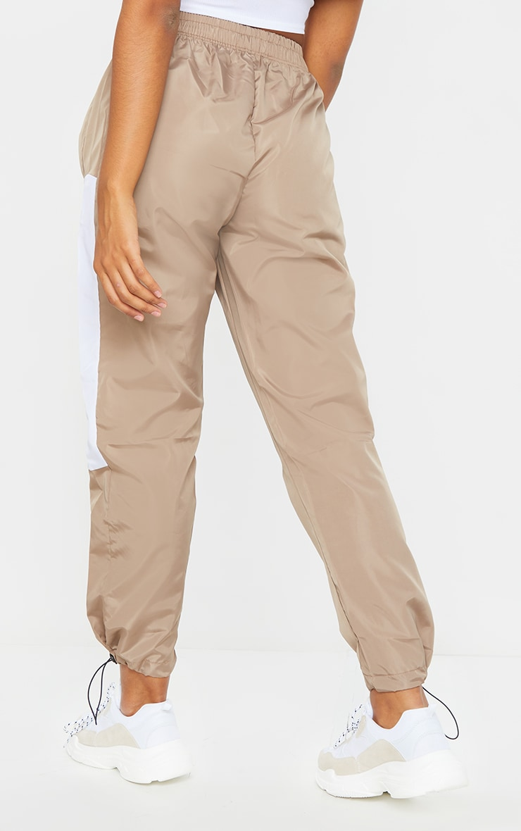 Stone Contrast Panel Shell Joggers 3