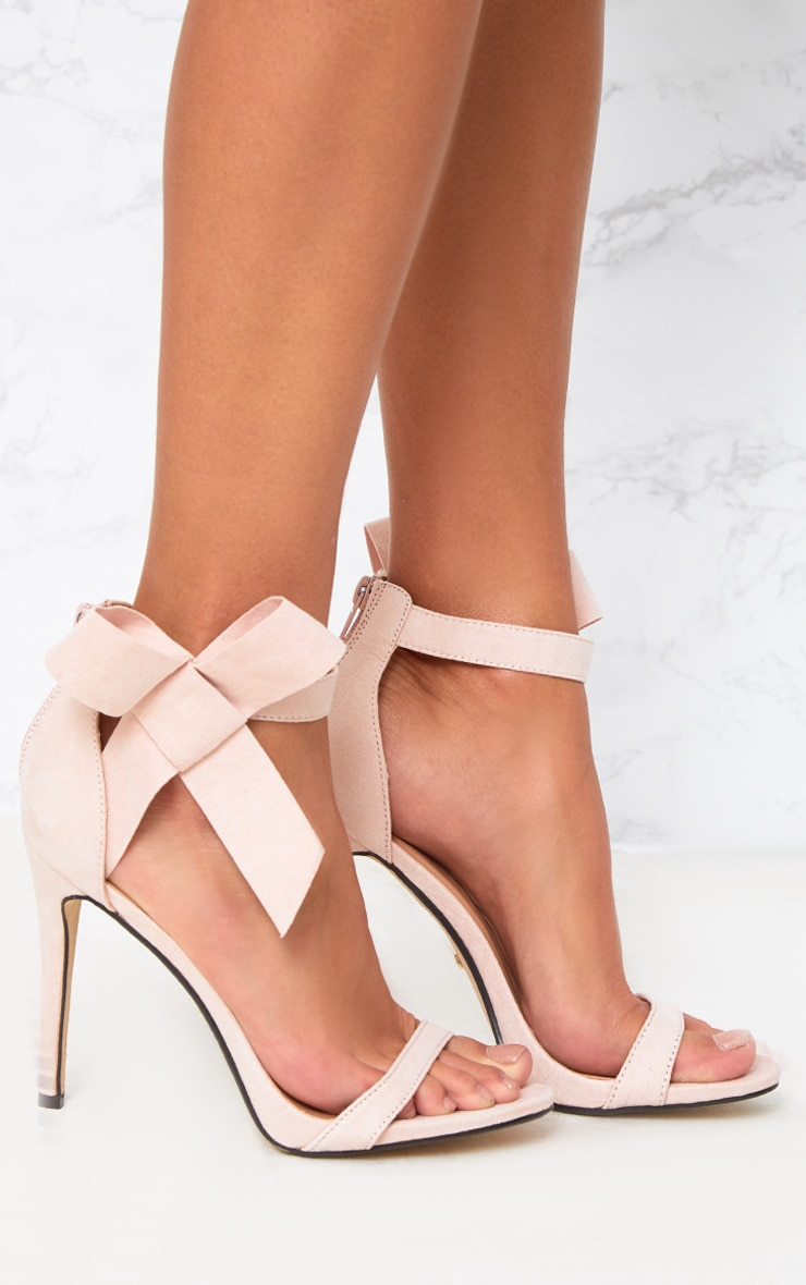 Blush Bow Detail Strappy Heels 4