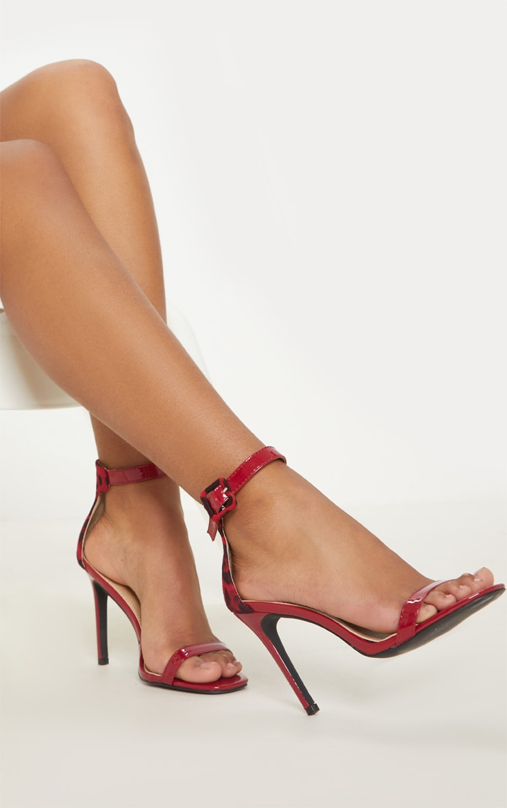 Red Two Tone Leopard Square Toe Heeled Sandal 2