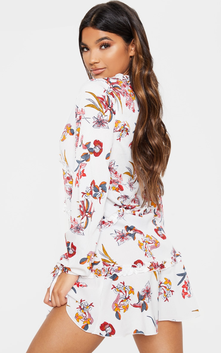 White Floral Print Frill Smock Dress 2
