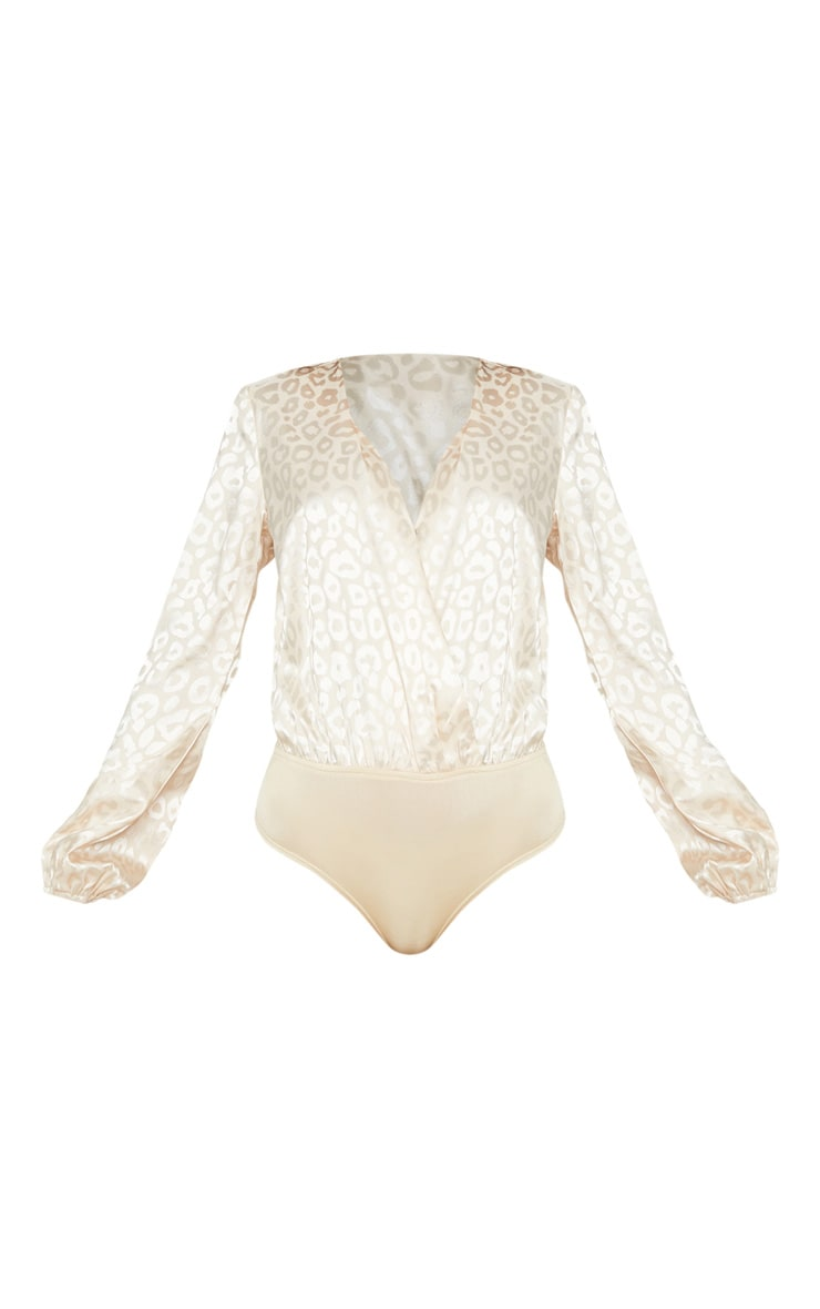Champagne Printed Satin Plunge Long Sleeve Bodysuit 3