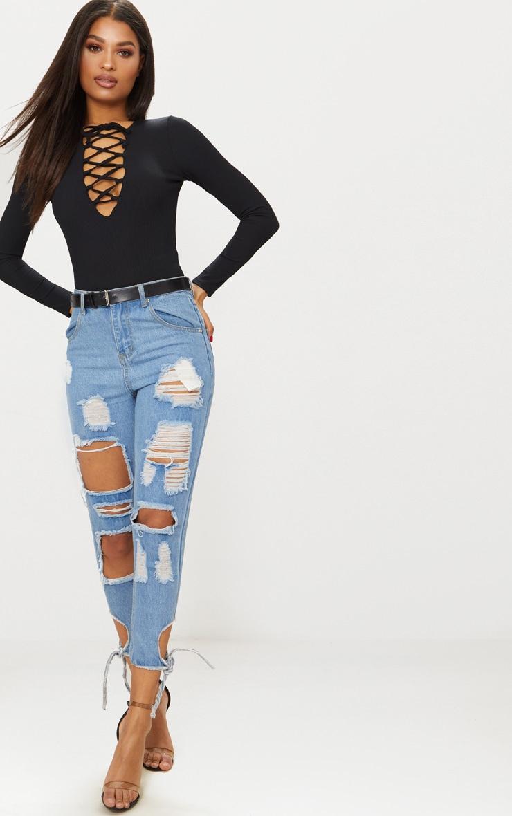 Black Rib Plunge Lace Up Thong Bodysuit 5