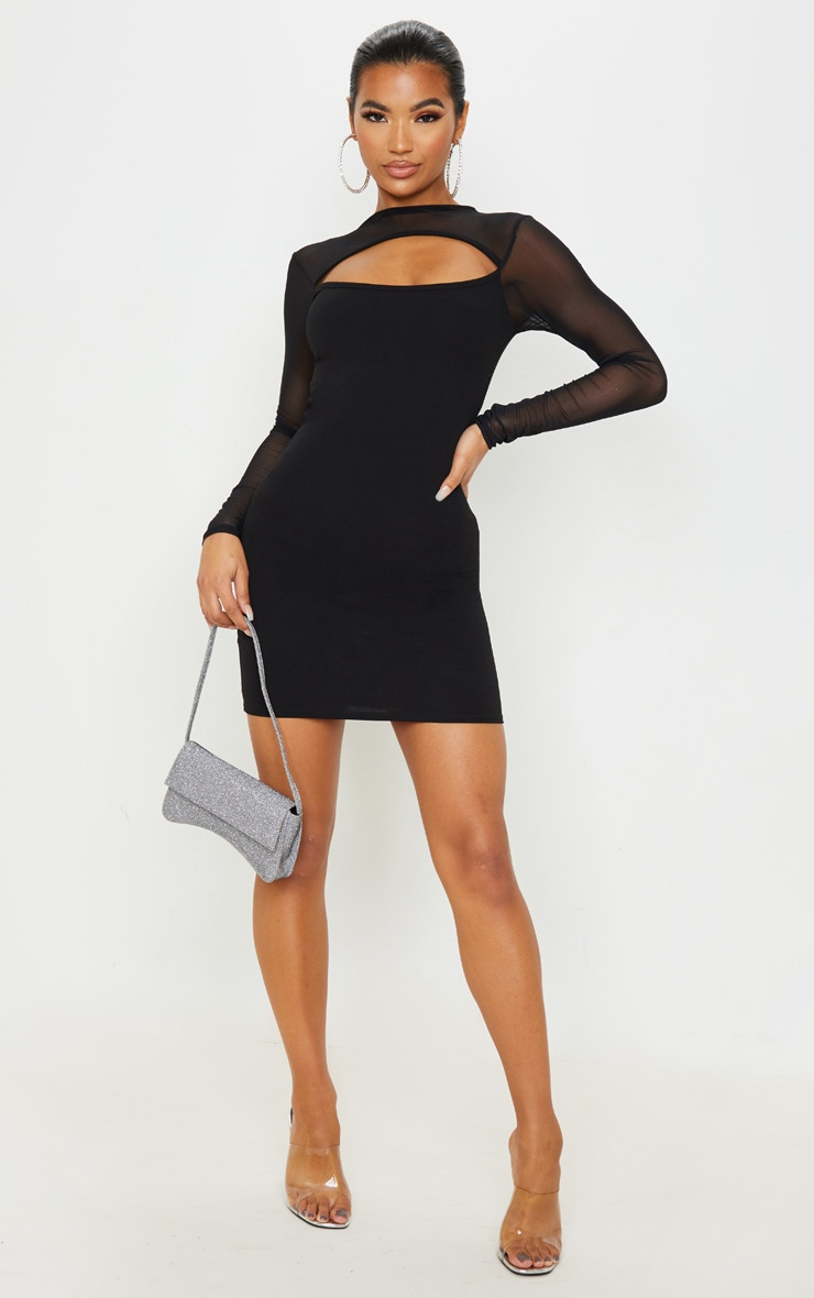 Black Mesh Bodice Cut Out Long Sleeve Bodycon Dress 4