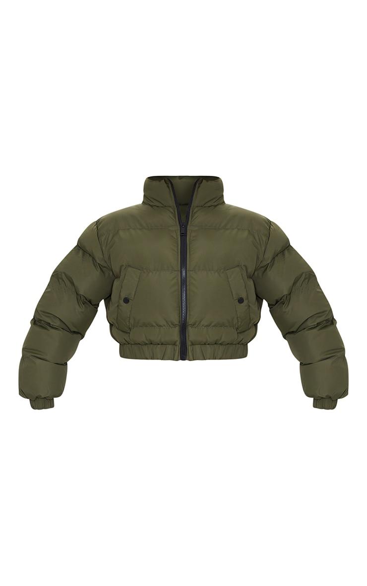 Khaki Cropped Bubble Zip Detail Puffer Jacket 5