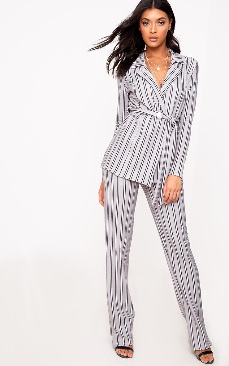 Grey Stripe Belted Blazer 4