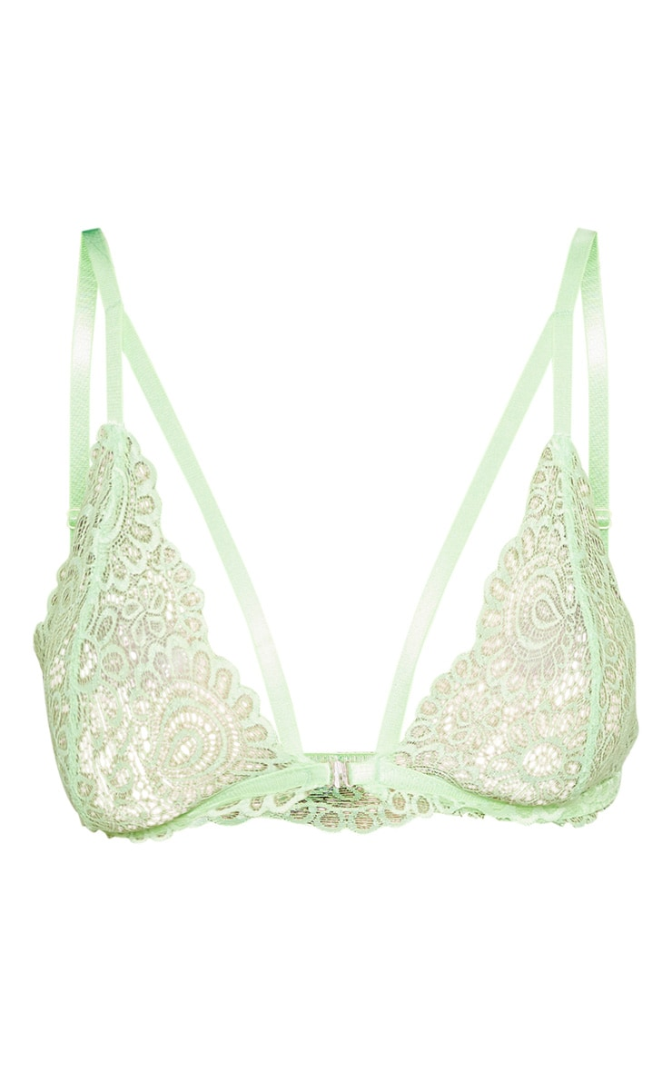Lime Daisy Lace Harness Front  Hook Bra 3