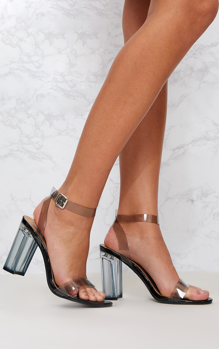 Black Clear Block Heel Sandal 1