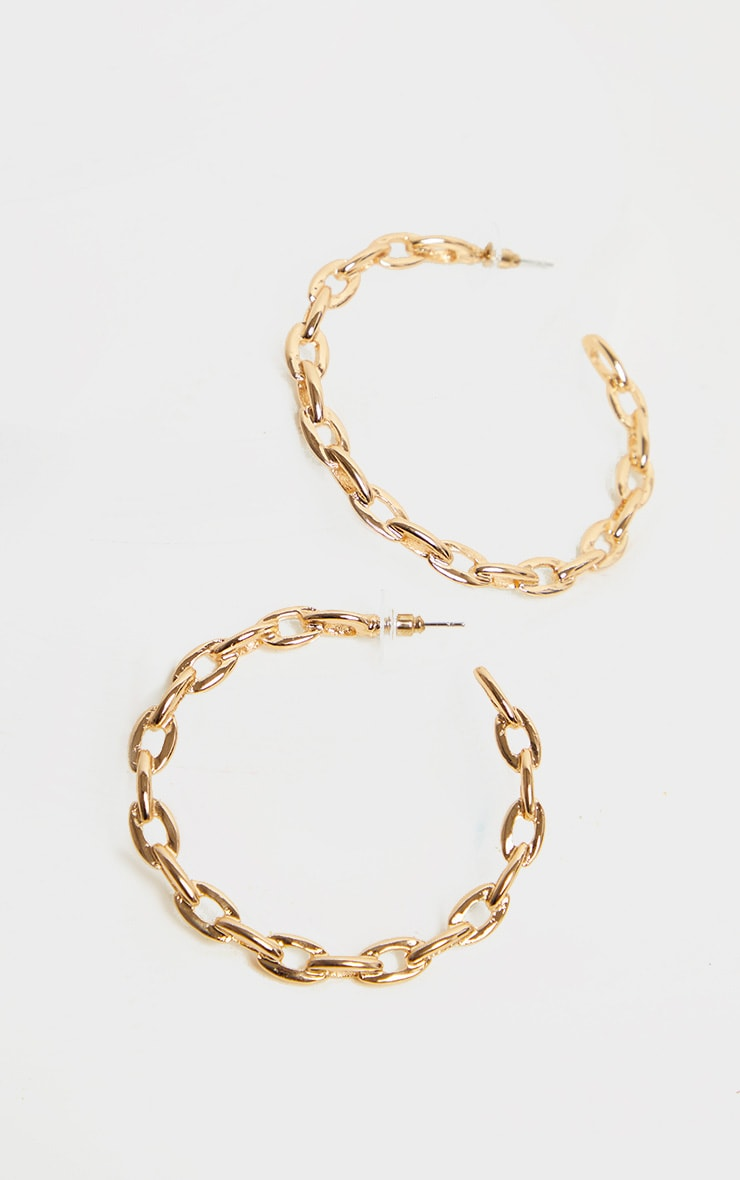 Gold Chain Twist Hoop Earrings 2
