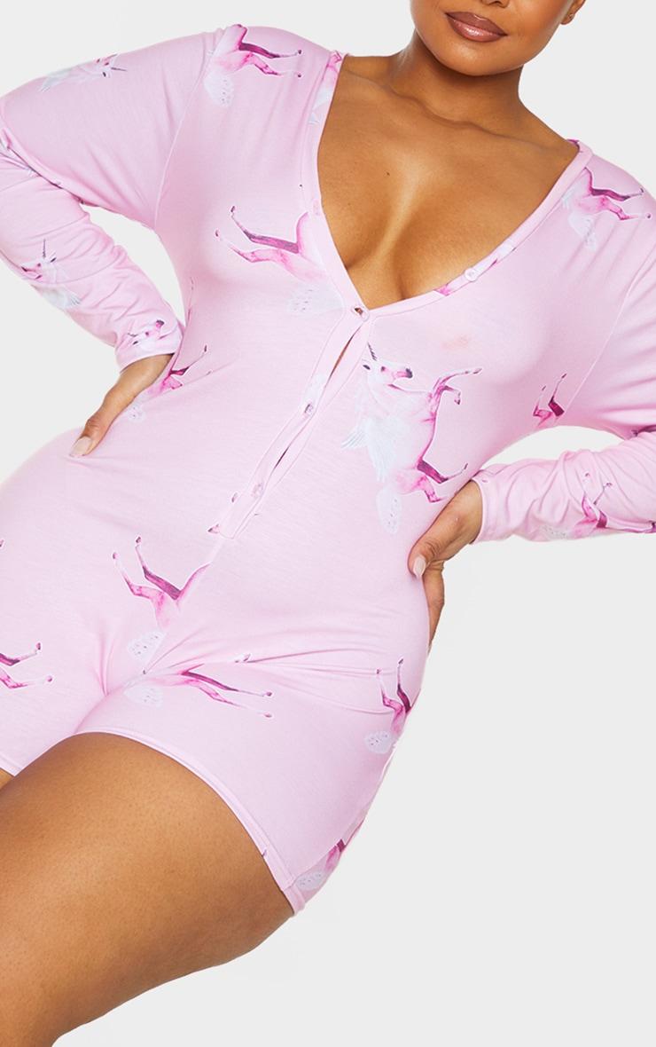 PRETTYLITTLETHING Plus Pink Unicorn Pink PJ Romper 4