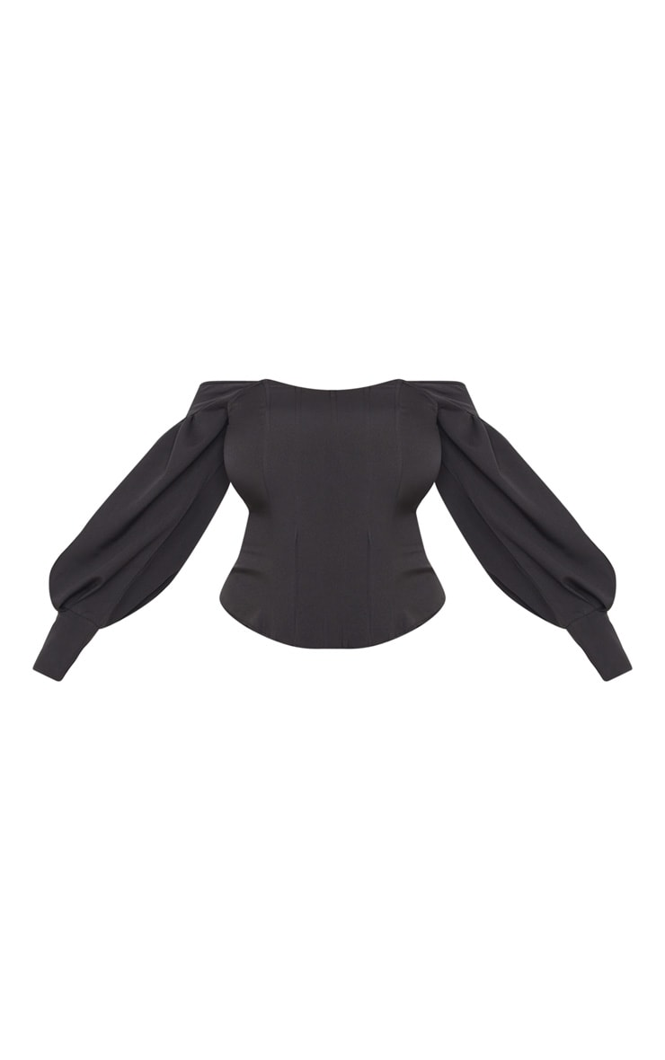 Plus Black Bardot Balloon Sleeve Corset Top 3