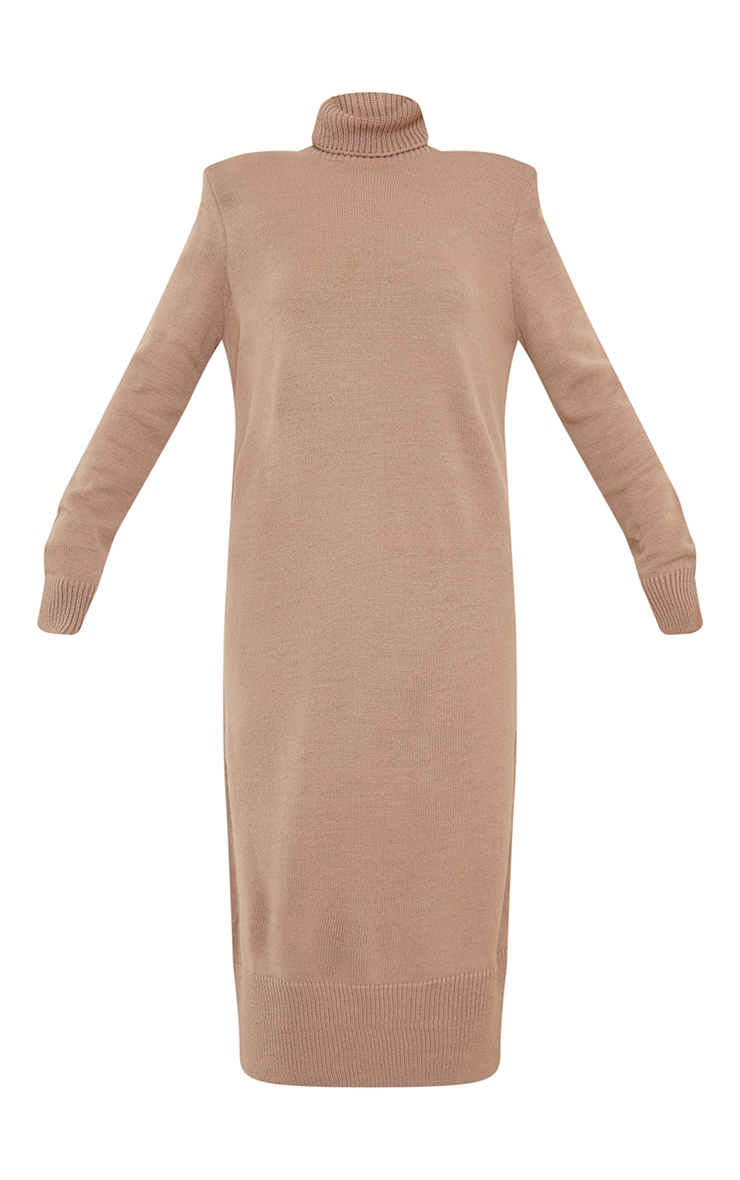 Camel Roll Neck Shoulder Pad Knitted Midi Sweater Dress 5