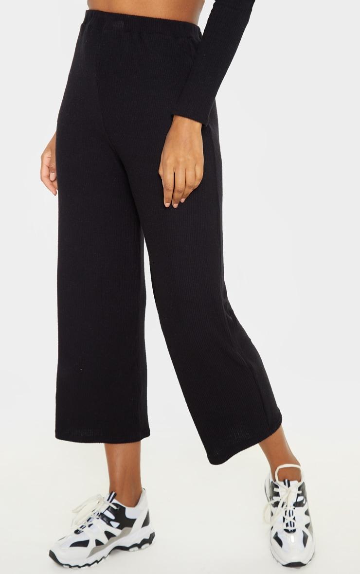 Black Brushed Rib Wide Leg Culotte 2