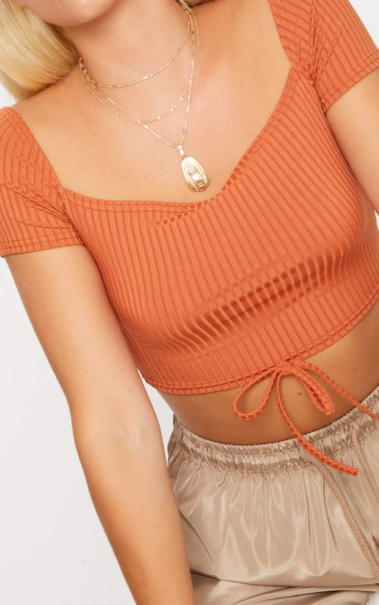 Burnt Orange Ribbed Tie Detail Crop Top 5