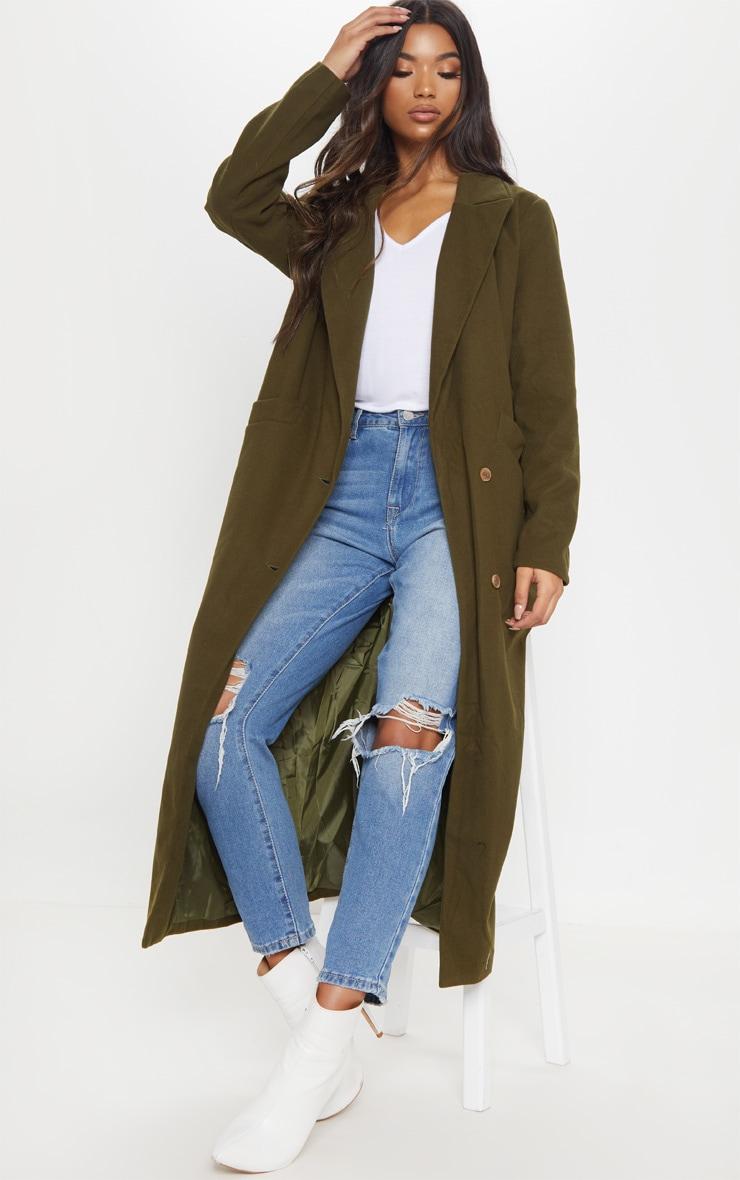 Manteau long croisé kaki