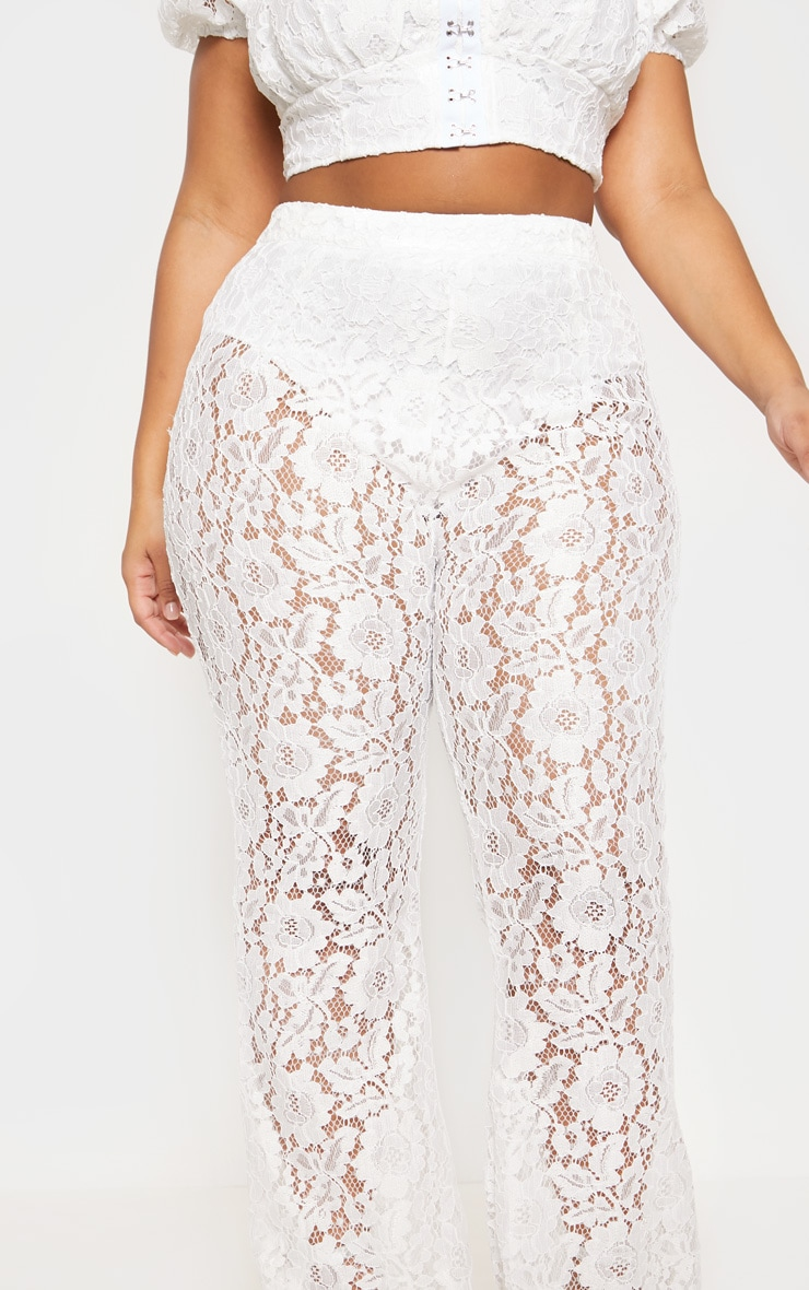 White Lace Sheer Flare Leg Trousers 6