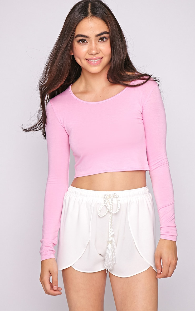 Suzy Pink Long Sleeved Crop Top  1