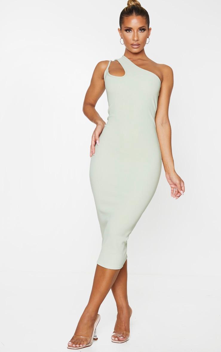 Sage Green Bandage Rib Asymmetric One Shoulder Midi Dress 1