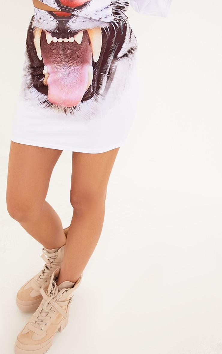 Tiger Print White Mini Skirt 6