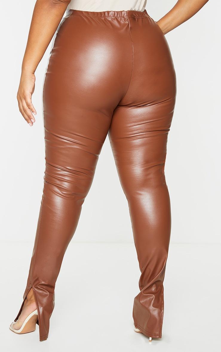 Plus Tan PU Split Hem Pants 3