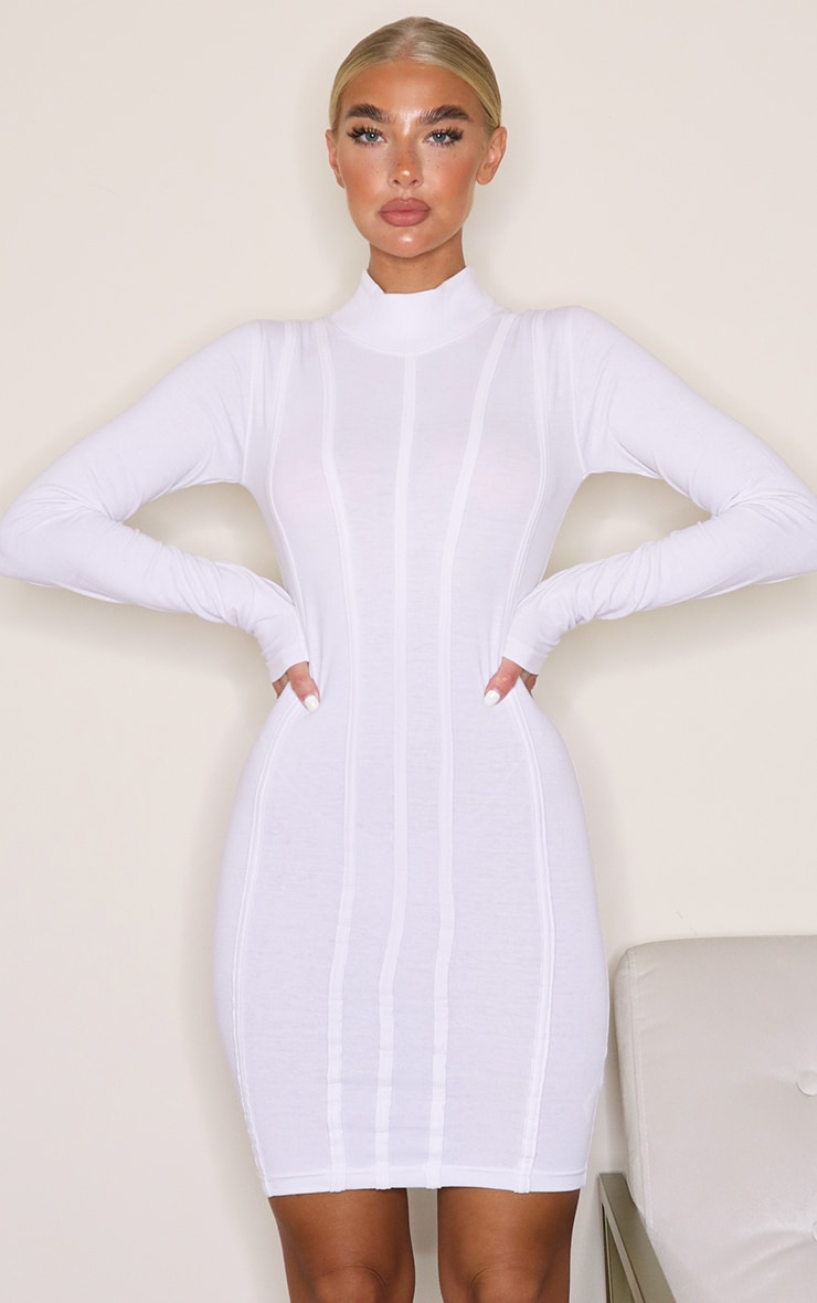White High Neck Binding Detail Long Sleeve Bodycon Dress 1