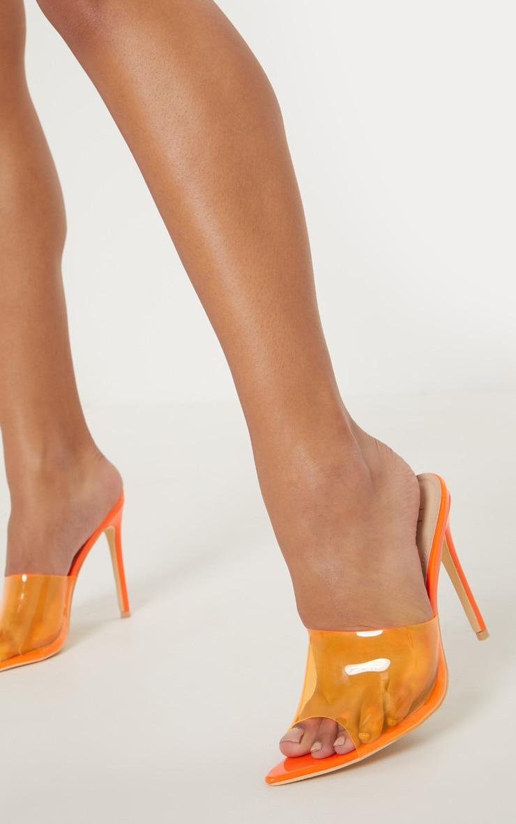 6510e81657d Neon Orange Clear Extreme Point Toe Mule image 1