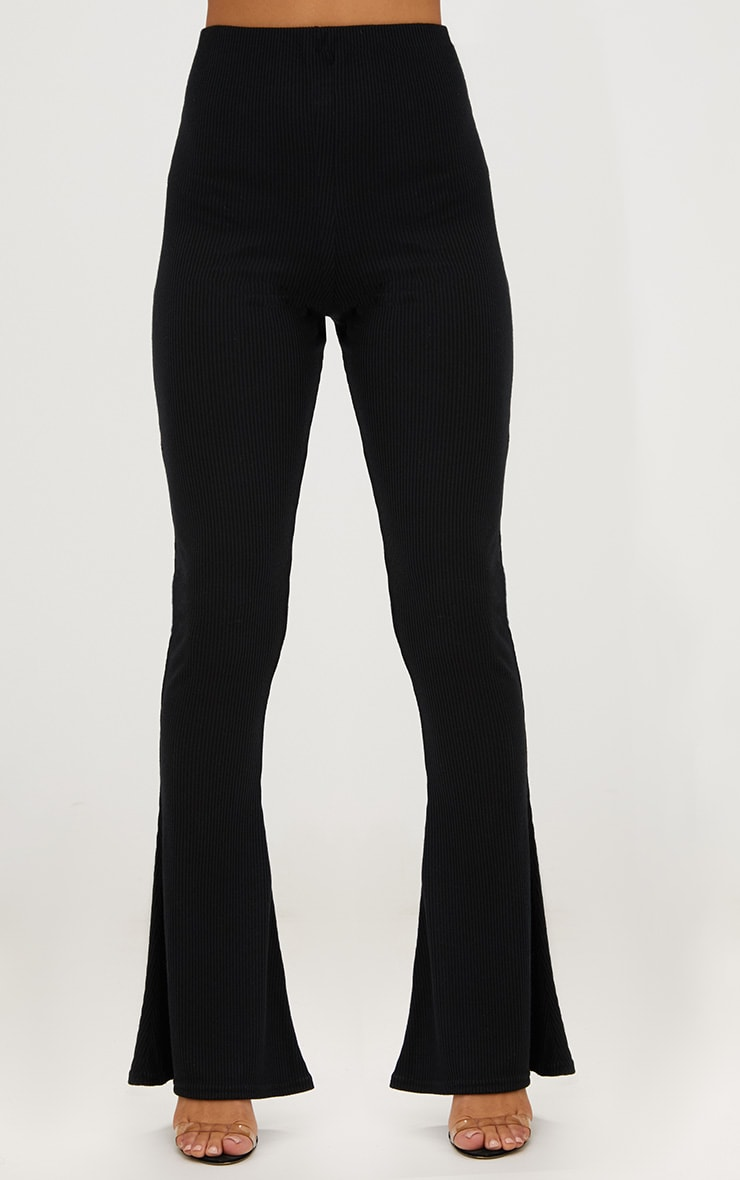 Black Ribbed Flared Pants 2