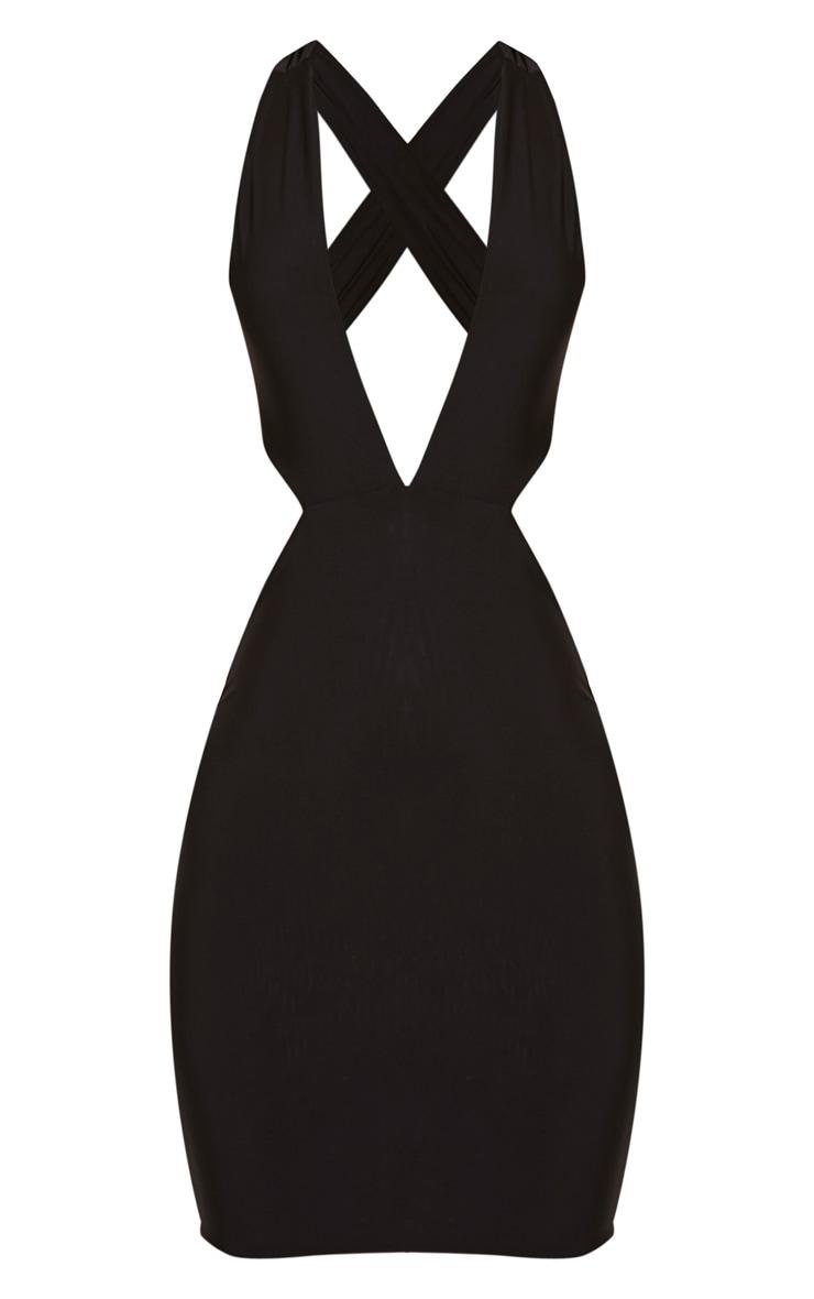Biddy Black Deep V Plunge Bodycon Dress 3