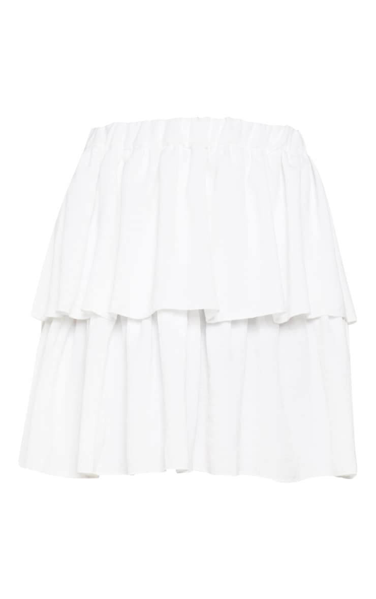 White Woven Frill Tiered Mini Skirt  3