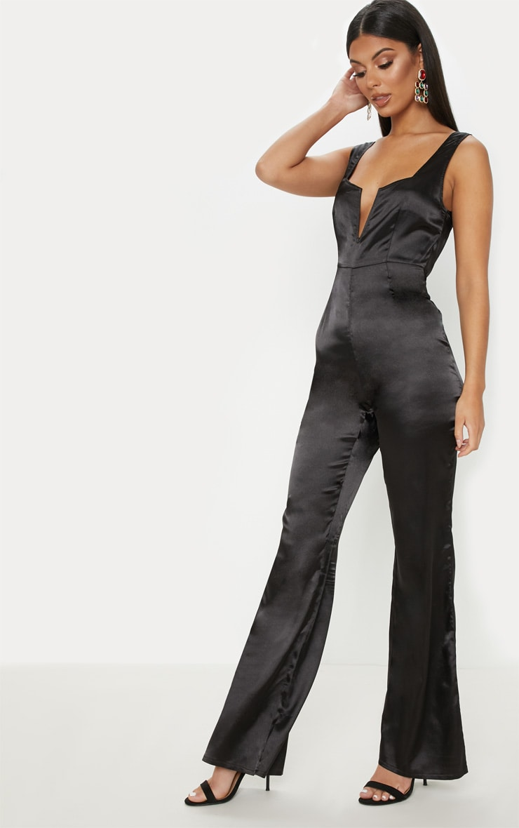Black Satin V Bar Wide Leg Jumpsuit 4