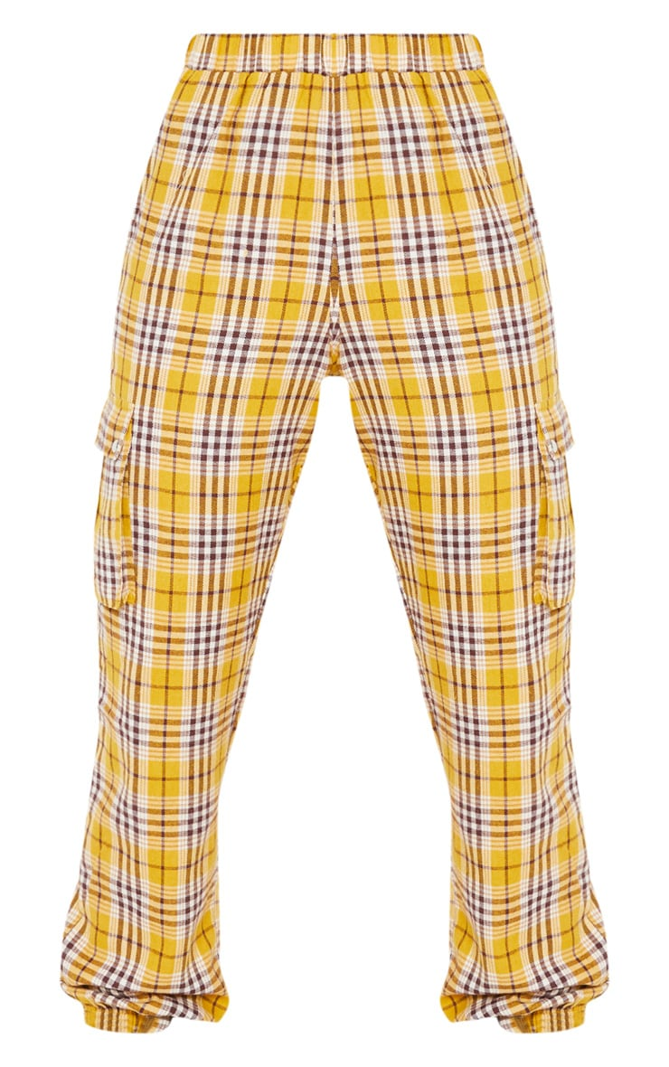 Yellow Check Pocket Detail Cargo Pants 3