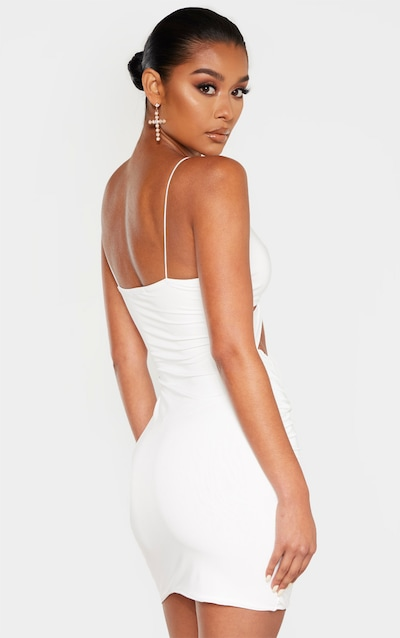 White Slinky Knot Front Cut Out Ruched Bodycon Dress