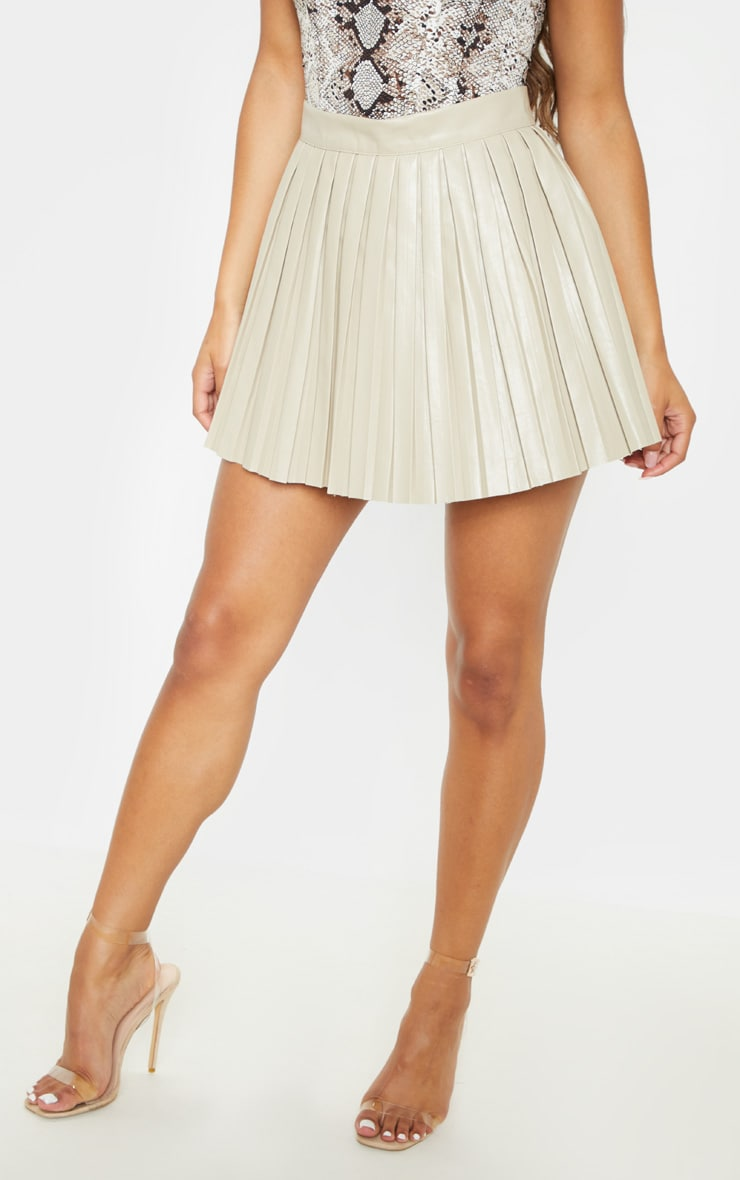 Stone Faux Leather Pleated Skater Skirt 2