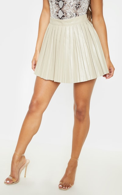 Stone Faux Leather Pleated Skater Skirt
