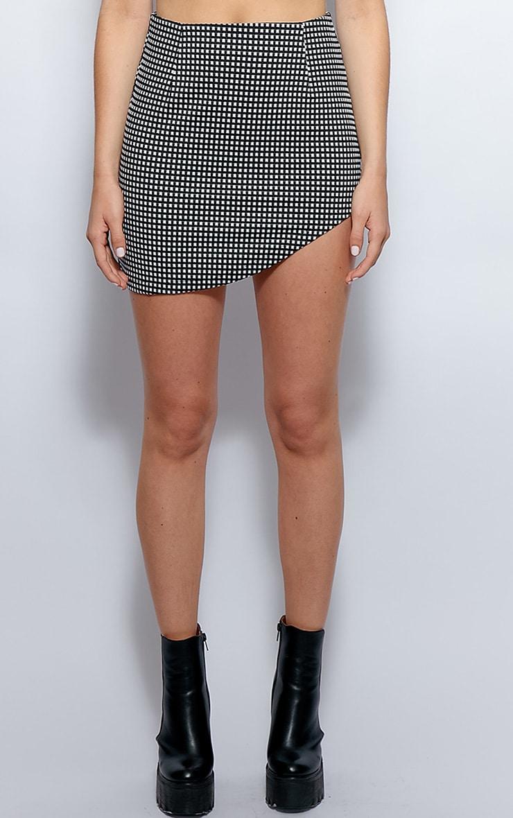 Rosie Monochrome Asymmetrical Check Skirt 3