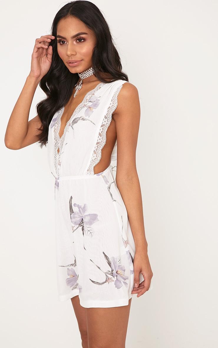 Tatiana White Floral Lace Trim Plunge Swing Dress