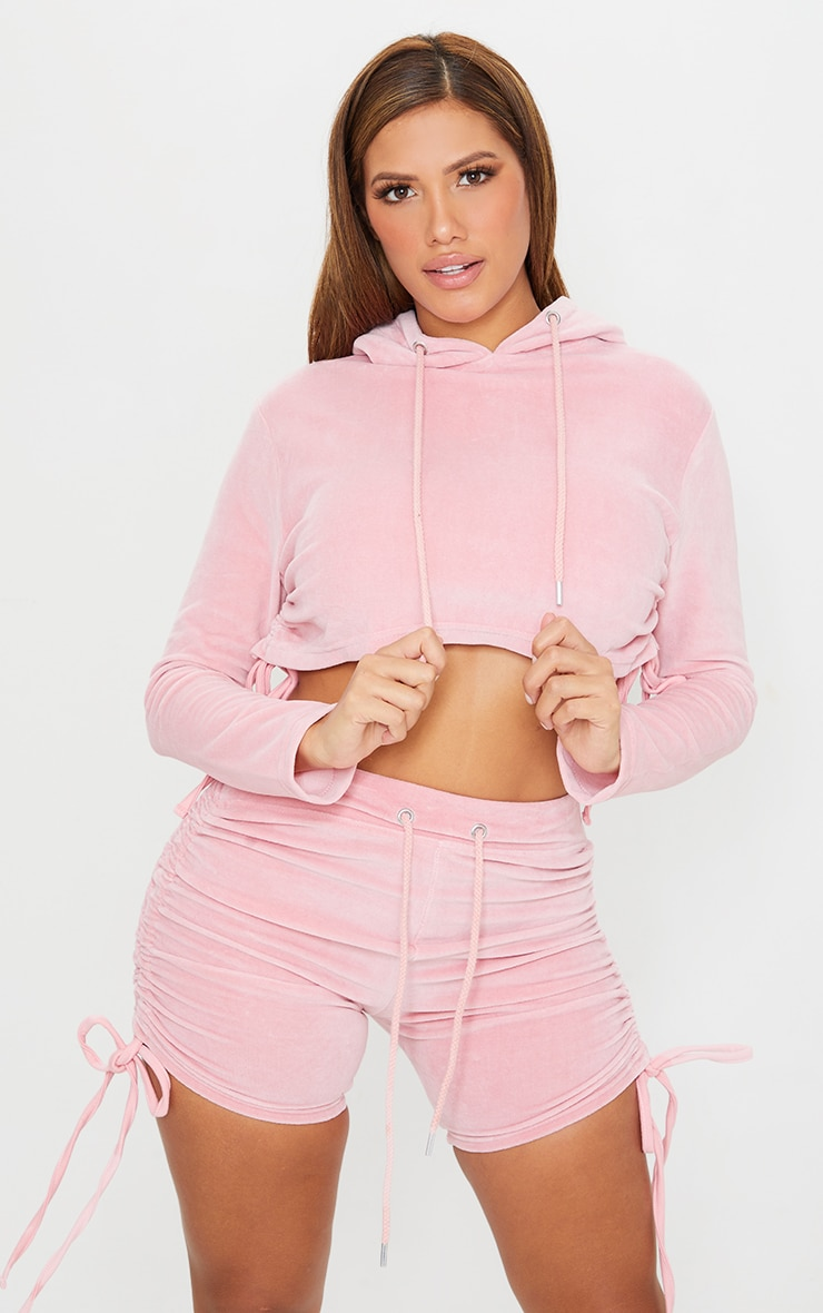 Shape Baby Pink Velour Ruched Side Cropped Hoodie 1