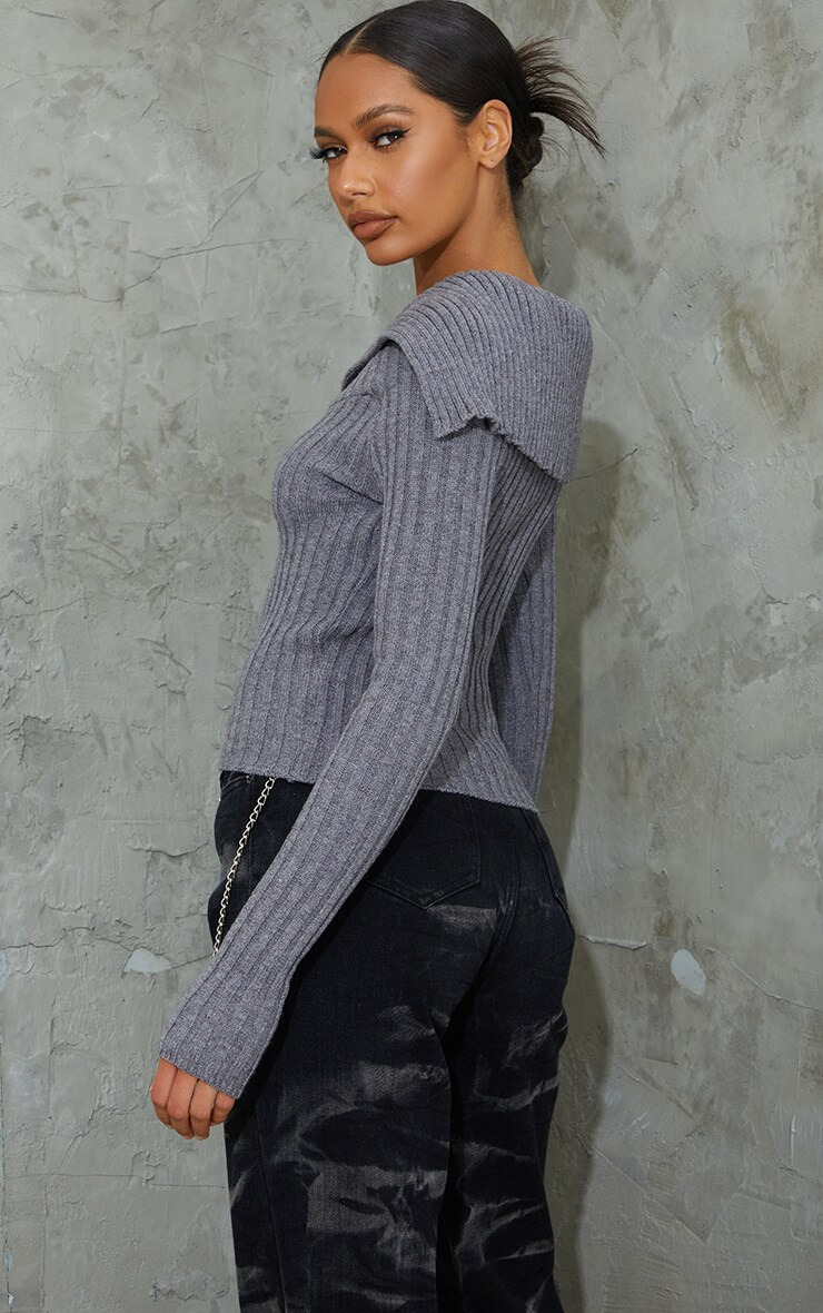Charcoal Off Shoulder Collar Detail Ribbed Sweater 2